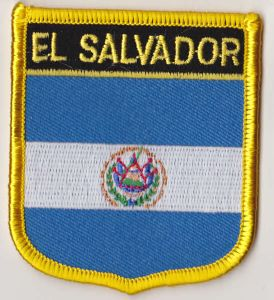 El Salvador Embroidered Flag Patch, style 07.